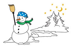 Snow man. Vector illustrations of the Snow man Stock Photo