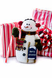 Snow man on  white background with gifts Royalty Free Stock Images