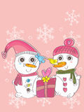 Snow Man Woman Bird Love_eps Royalty Free Stock Photos