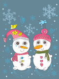 Snow Man Woman Pair_eps Stock Image