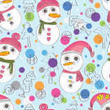 Snow Man Woman Pair Seamless Pattern_eps Stock Images
