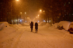 Snow in Manhattan New York. New York, USA - January 23, 2016: view of new york streets in west village district Manhattan New York during a snow blizzard, with Royalty Free Stock Images