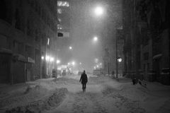 Snow in Manhattan New York. New York, USA - January 23, 2016: view of new york streets in west village district Manhattan New York during a snow blizzard, with Stock Photography