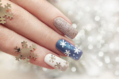 Snow manicure. Royalty Free Stock Photography