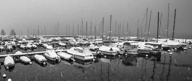 Snow In Marina Royalty Free Stock Images