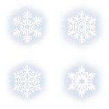 Snow mark of snowflakes on white set Royalty Free Stock Photos
