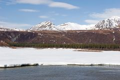 Snow melting on Alaska Range Royalty Free Stock Photo