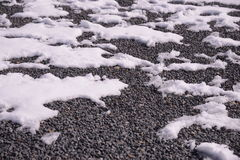 Snow melting on field Stock Image