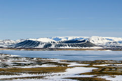 Snow Melting at Hverfjall Volcano Royalty Free Stock Image
