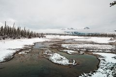 The Melting Athabasca River in Jasper stock photos