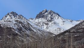 Snow Melting Off of the Peaks. Spring is coming in Alaska as you can see the snow melting off of the peaks Stock Image