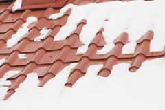 Snow melting on a roof Royalty Free Stock Image