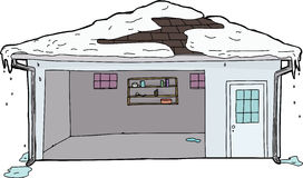 Snow Melting From Roof of Garage Royalty Free Stock Image