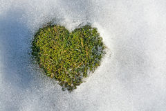 Snow melting in the shape of a heart. Spring love concept background cold climate relations. Sweden Royalty Free Stock Images