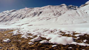 Snow melting spring is coming winter landscape stock video footage