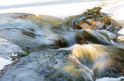 Snow melting into spring stream (long exposure). Spring brook at sunny weather Stock Photos