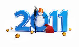 Snow men new year 2011 christmas ball Stock Image
