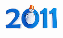 Snow men new year's 2011. Snow men new year 2011 on a white background Stock Images