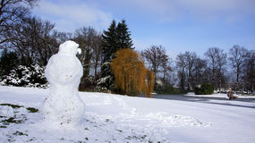 Snow men in park Stock Image