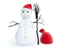 Snow men red bag santa hat Royalty Free Stock Photos