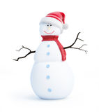 Snow men santa hat. On a white background Royalty Free Stock Image