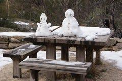 Snow Men on Table Royalty Free Stock Photos