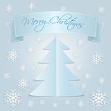 Snow Merry Christmas. Merry Christmas card with snowflake, ribbon and text Stock Image