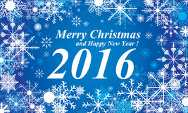 Snow, Merry Christmas and Happy New Year 2016 blue background. Snow in winter. Royalty Free Stock Images