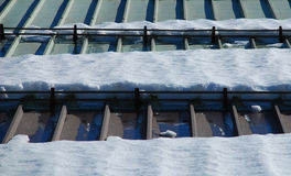Snow on Metal Roof 1 Stock Photography
