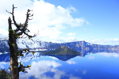 Snow in the middle of Crater Lake National Park Stock Image