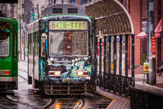 Snow Miku streetcar in Sapporo Royalty Free Stock Photos