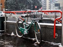Snow in Milan stock photography
