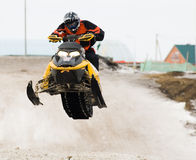 Snow mobile jump Stock Photos