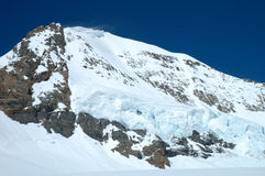 Snow on Monch mountainside at Jungfraujoch in Switzerland Stock Images