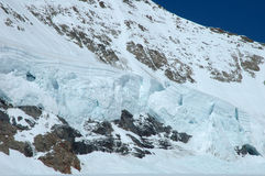 Snow on Monch mountainside at Jungfraujoch in Switzerland Royalty Free Stock Images