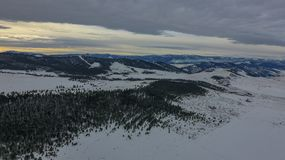 Snow in Montana. Drone shot of Montana mountains Royalty Free Stock Photo