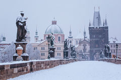 Charles bridge in winter, Prague Royalty Free Stock Image