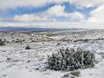 Snow on the Mounitains. Landscape of a snowy mountain range, with a beautiful blue sky Royalty Free Stock Images