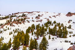 Snow on Mount Lassen in the national park Royalty Free Stock Photos