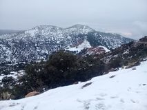 Snow , Mount , panorama. Snow or snow is a form of precipitation in the form of ice crystals that occur in the cold season but do not occur in all countries of royalty free stock images