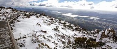 Snow on Mount Wellington, Hobart. Panorama of the snow at Mount Wellington in Tasmania, Australia stock images