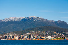 Snow on Mount Wellington, Tasmania. View over the Derwent River of Mount Wellington in winter Stock Photography