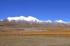 Snow mountain. The peak of Nien-ch'ing-t'ang-ku-la Mountains , a famous Snow Mountain in Tibet beside the Qinghai-Tibet railway Royalty Free Stock Images