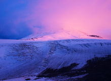 Snow mountain. In mist during dawning. The Natural composition Stock Photo