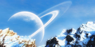 Snow Mountain. With clear sky and ring planet on the horizon Royalty Free Stock Photos