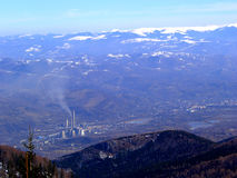 Snow Mountain.......(3). Here is a mountain town. He have an industry. The town is under a mountain Stock Image