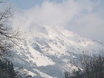 Snow in the mountain. Snow and fog in the mountain royalty free stock photos