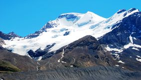 Snow mountain. Near Columbia Glacier in Rockies Icefield National Park royalty free stock photography