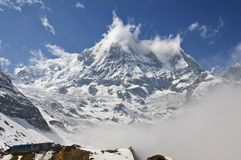 Snow mountain annapurna southern. Trekking to Annapurna Base Cam. P, Nepal stock images