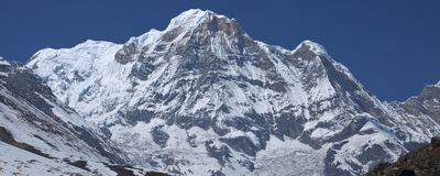 Snow mountain annapurna southern. Trekking to Annapurna Base Cam. P, Nepal stock photography
